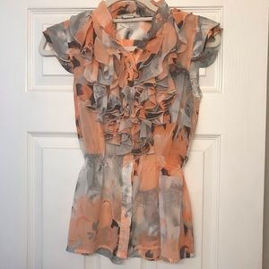 Charlotte Russe Ruffle Blouse Peach, Grey & Black